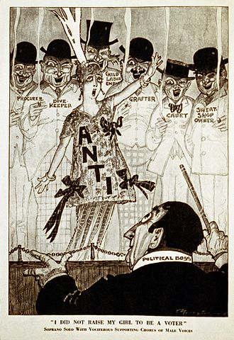 "Parody - Satirical political cartoon that appeared in Puck magazine, October 9, 1915. Caption ""I did not raise my girl to be a voter"" parodies the anti-World War I song ""I Didn't Raise My Boy To Be A Soldier."" A chorus of disreputable men support a lone anti-suffrage woman."