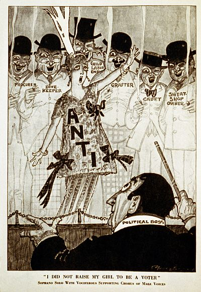 "A chorus of disreputable men supports an anti-suffrage woman in this 1915 cartoon from Puck magazine. The caption ""I did not raise my girl to be a voter"" parodies the antiwar song ""I Didn't Raise My Boy To Be A Soldier"". I did not raise my girl to be a voter3.jpg"
