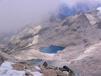 Ibón - the Ibóns of Coronas from the Aneto summit (3,404 m) in the Spanish Pyrenees