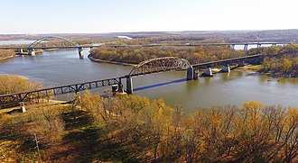 Illinois River - Illinois River valley, Abraham Lincoln Memorial Bridge, and LaSalle Rail Bridge near LaSalle, Illinois