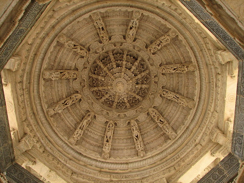 File:India - Udaipur - 041 - beautifully carved ceiling at the Ranakpur Jain Temple (1059176705).jpg