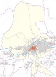 Austria map, position of downtown highlighted