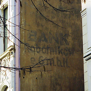 Ruhrpolen - Old inscription for the Polish workers bank in Bochum, Bank Robotników e.G.m.b.H.