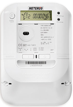 Smart meter -  Example of a smart meter based on Open smart grid protocol (OSGP) in use in Europe that has the ability to reduce load, disconnect-reconnect remotely, and interface to gas and water meters.