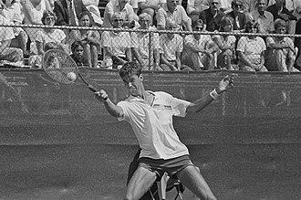 Michiel Schapers - Image: Internationaal tennis op Melkhuisje in Hilversum Michiel Schapers in actie, Bestanddeelnr 933 3837