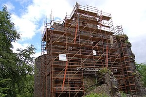 Clan MacDonell of Glengarry - Ruins of Invergarry Castle, a later seat of the chiefs of the Clan MacDonell of Glengarry, undergoing stabilisation work in 2007.