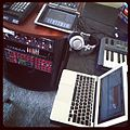 Ipad synth, hardware synths, macbook brain....jpg
