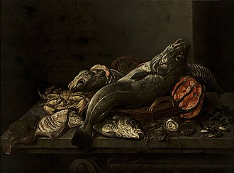 Isaac van Duynen - Still-life with fishes and shellfishes, now in the Museo Nacional de Bellas Artes de La Habana