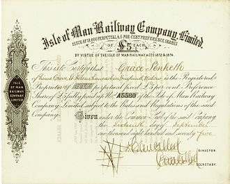 Isle of Man Railway - Share of the Isle of Man Railway Company Ltd, issued 16. September 1875