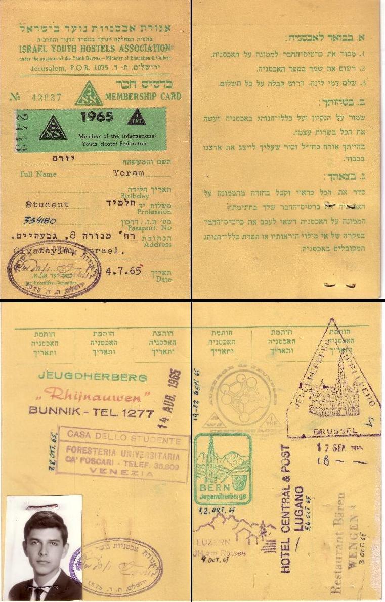 Israel Youth Hostels Association membership card