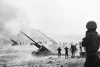 130 mm towed field gun M1954 (M-46) - Israeli M-46s open fire on Syrian positions during the Yom Kippur War.