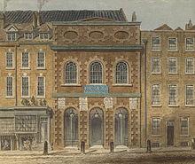 Das Queen's Theatre (ab 1714 King's Theatre) am Haymarket in London. Hier wurden die meisten Opern Händels aufgeführt. (Quelle: Wikimedia)