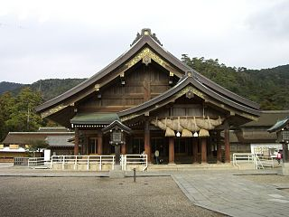 the hall of worship or oratory in the Shinto shrine