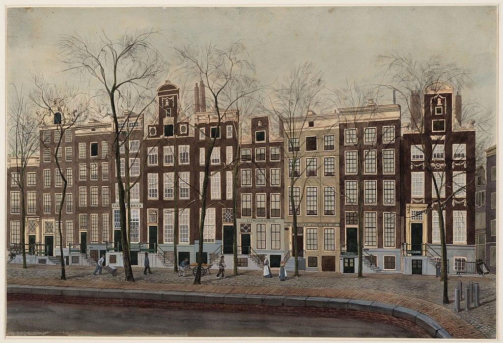 Dessin d'une partie de la Vieille Ville d'Amsterdam aux Archives municipales.