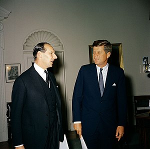 Polaris Sales Agreement - President John F. Kennedy meets with the British Ambassador to the United States, Sir David Ormsby-Gore, in the Oval Office.