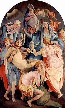 The Deposition from the Cross: A group of almost immaterial figures in transparent garments is arranged so as to represent a sequence of downward movements, rather than a single scene.