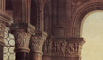 Madonna of Chancellor Rolin - The carvings above Rolin.