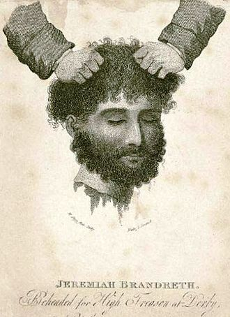 Jeremiah Brandreth - Contemporary etching of the executed head of Jeremiah Brandreth