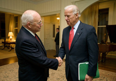 Vice President-elect Biden meets with Vice President Dick Cheney at Number One Observatory Circle on November 13, 2008 Joe Biden and Dick Cheney at VP residence.jpg