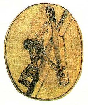 Christ of Saint John of the Cross - Crucifixion sketch by St. John of the Cross, c. 1550, which inspired Dalí