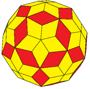 Rhombic enneacontahedron - joined truncated icosahedron
