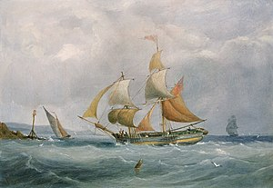 Bristol Channel pilot cutter - 1838 painting by Joseph Walter, showing a trading brig running into the River Avon, being fast approached by a Bristol Channel pilot cutter
