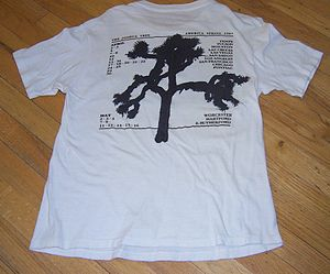 The Joshua Tree Tour - The back of the most common T-shirt from the Joshua Tree Tour's first leg.