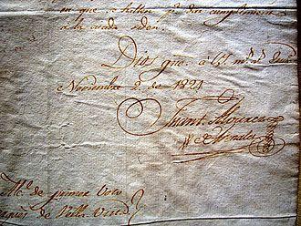 Juan Antonio Álvarez de Arenales - Signature of Arenales