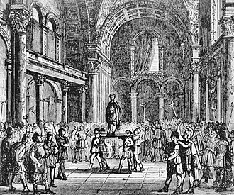 Julian (emperor) - 19th century depiction of Julian being proclaimed Emperor in Paris (fancifully located in the Thermes de Cluny, then thought to have been the Imperial Palace), standing on a shield in the Frankish manner, in February 360.