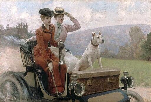 Julius LeBlanc Stewart - Les Dames Goldsmith au bois de Boulogne en 1897 sur une voiturette