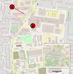Map of Munich with locations of attack and Olympia shopping mall marked with red dots.