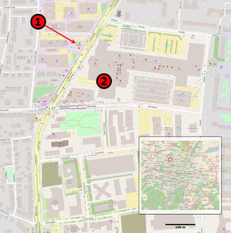 2016 Munich shooting - Map of shooting: (1) McDonald's, where the shooting started (2) Olympia shopping mall