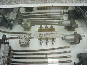 Junkers Jumo 213 - Jumo 213 fuel injector system components in the Technikmuseum Speyer