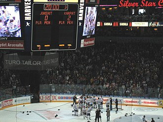 Karpat wins the Finnish championship in 2005 after beating Jokerit. Karpat kultaa 2005.jpg