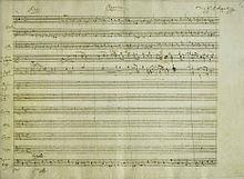 Ausschnitt aus der autographen Partitur des Requiems (KV 626) (Quelle: Wikimedia)