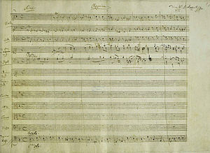 Requiem - A portion of the manuscript of Mozart's ''Requiem'', K 626 (1791), showing his heading for the first movement.