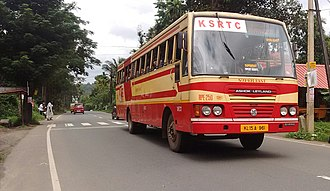 Kerala State Road Transport Corporation - SFP bus, built by the Edappal Regional Workshop, running towards Kozhikkod