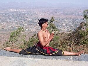 Split (gymnastics) - A front split with left leg forward