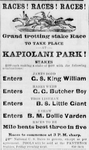 Kapiolani Park - Image: Kapiolani Park Horse Race Ad