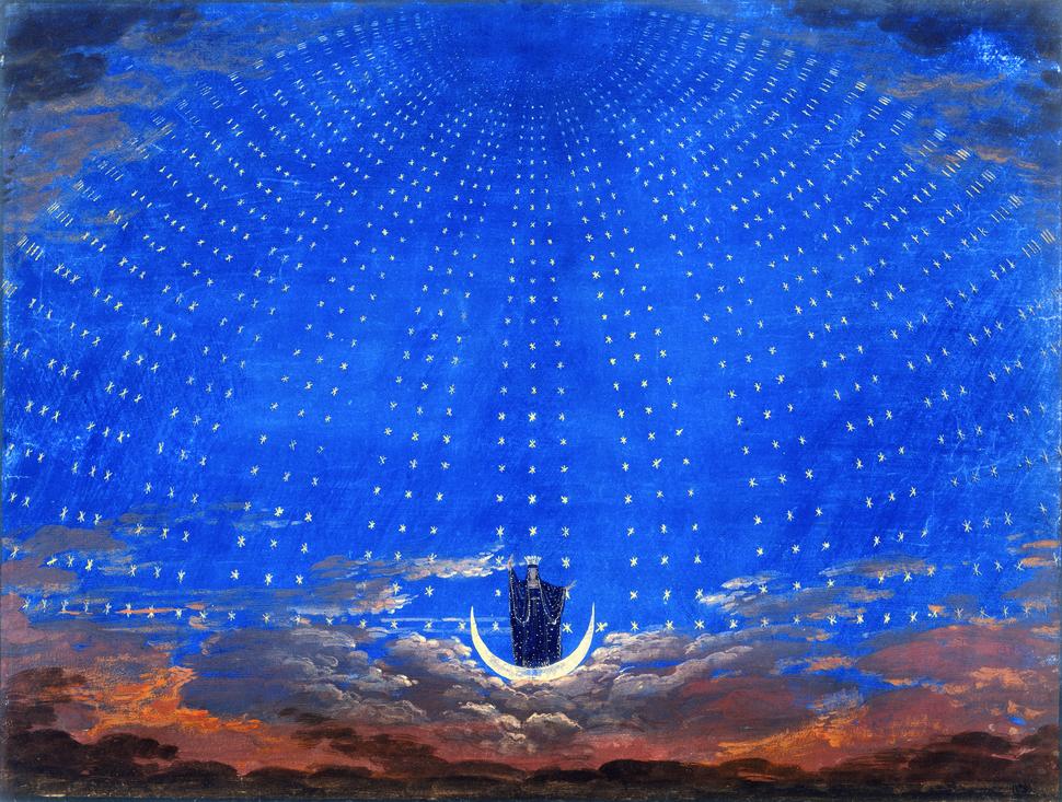 Karl Friedrich Schinkel Die Sternenhalle der Königin der Nacht Bühnenbild Zauberflöte Mozart