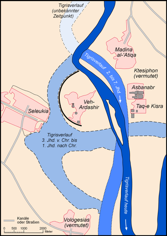 Siege of Ctesiphon (637) - Location of Bahurasīr (Veh-Ardashir/Seleucia) on the west bank of Tigris.