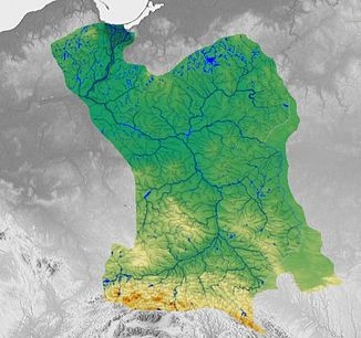 Vistula with catchment area and tributaries