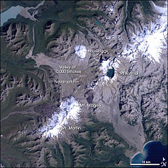 Satellite image of the Valley of Ten Thousand Smokes and surrounding area.