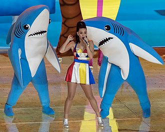 "Backup dancer - Katy Perry performing with the dancing sharks backup dancers during the performance of ""Teenage Dream"" at the Super Bowl XLIX halftime show"