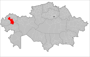 Location of Akzhaik District in Kazakhstan