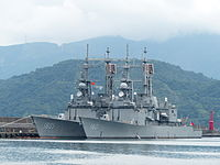 Kee Lung (DDG-1801) and Ma Kong (DDG-1805) shipped in Zhongzheng Naval Base 20130504b.jpg