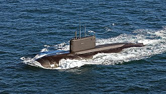 Kilo-class submarine - Russian Project 877 in the English Channel in 2018