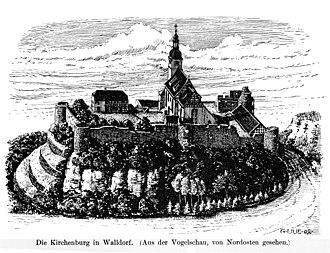 Walldorf, Thuringia - Kirchenburg (fortified church) Walldorf, idealized, by G. Lilie 1904