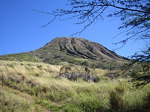Volcanic cone - Koko Crater is 10,000-year-old tuff cone, youngest in the Honolulu Volcanic Series