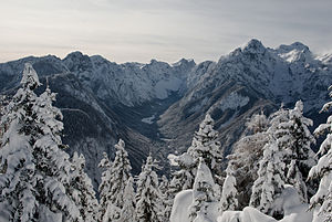 Krma - Krma Valley from the nearby Jerebikovec in winter 2010